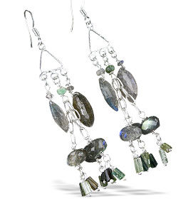 Design 13995: gray,multi-color labradorite chandelier earrings