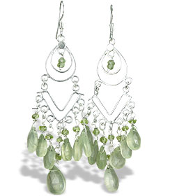 Design 14010: green prehnite chandelier earrings