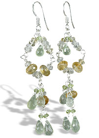 Design 14011: green,multi-color prehnite chandelier earrings