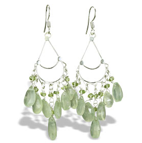 Design 14013: green prehnite chandelier earrings