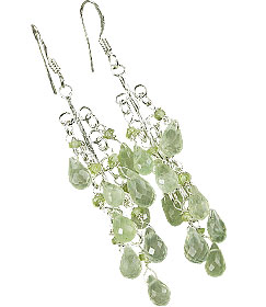 Design 14014: green prehnite american-southwest earrings