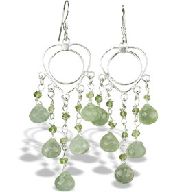 Design 14024: green prehnite chandelier earrings