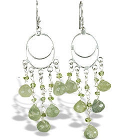 Design 14026: green prehnite chandelier earrings