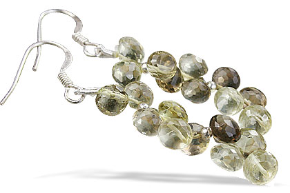 Design 14068: brown,green,yellow lemon quartz earrings