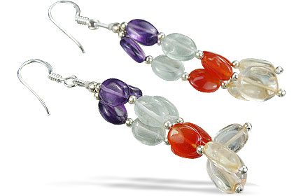 Design 14083: multi-color multi-stone multistrand earrings
