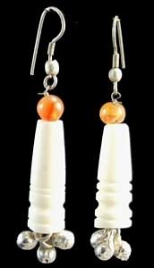 Design 1434: orange,white carnelian earrings