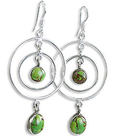 Design 14427: brown,green,multi-color mohave hoop earrings