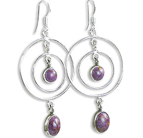 Design 14428: brown,purple,multi-color mohave hoop earrings