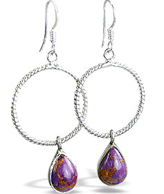 Design 14430: brown,purple,multi-color mohave hoop earrings