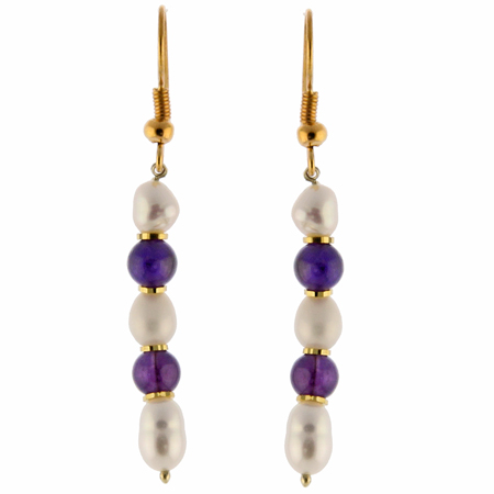 Design 1451: purple,white pearl earrings