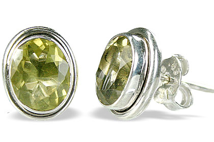 Design 14773: green,yellow lemon quartz post earrings