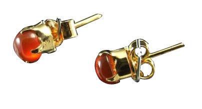 Design 1485: orange carnelian studs earrings