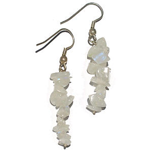 Design 14898: white moonstone chipped earrings