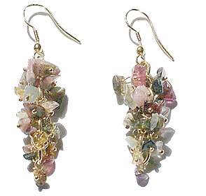 Design 14900: multi-color tourmaline chandelier earrings
