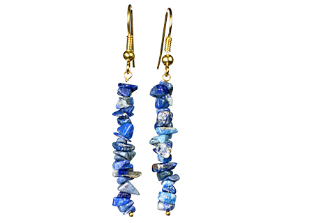 Design 1494: blue lapis lazuli chipped earrings