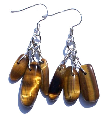 Design 15091: brown,yellow tiger eye chipped earrings