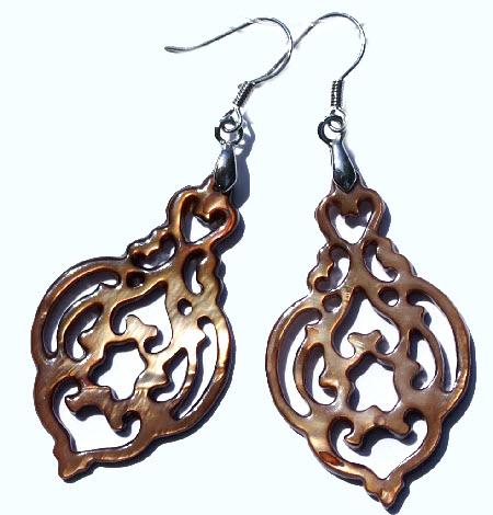 Design 15093: brown shell art-deco earrings