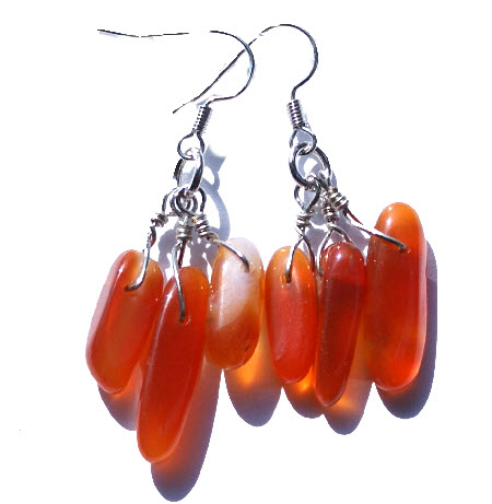 Design 15094: orange carnelian chandelier earrings