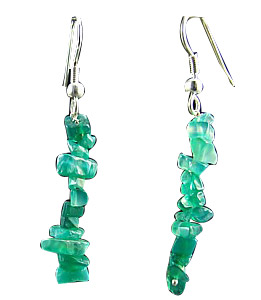 Design 1535: green onyx chipped earrings