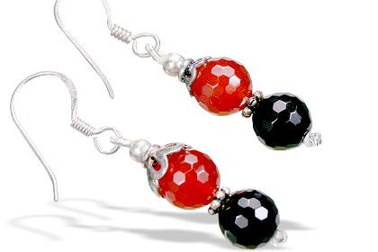Design 15578: black,orange onyx earrings