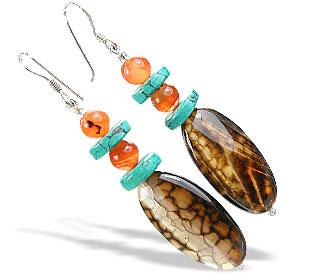 Design 15593: brown,orange onyx earrings