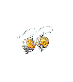 Design 15806: orange amber drop earrings