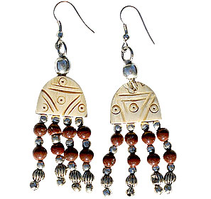 Design 16035: brown bone ethnic earrings