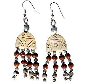 Design 16035: brown bone ethnic earrings
