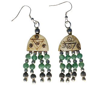 Design 16040: brown,green bone ethnic earrings