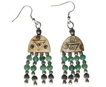 Design 16040: brown,green bone ethnic earrings