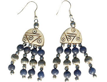 Design 16044: blue,brown bone ethnic earrings