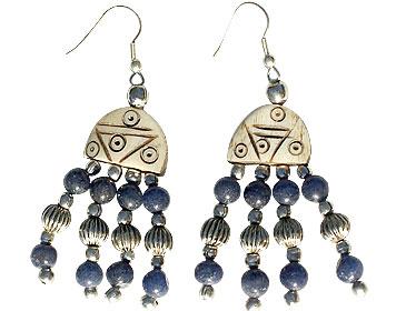 Design 16044: blue,brown bone ethnic earrings