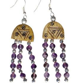 Design 16076: brown,purple bone ethnic earrings