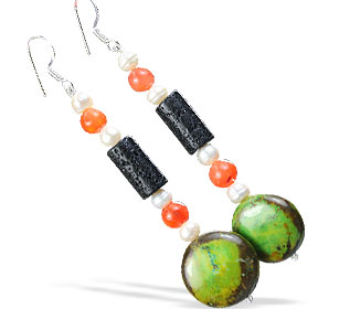 Design 16129: green,orange,multi-color multi-stone multistone earrings