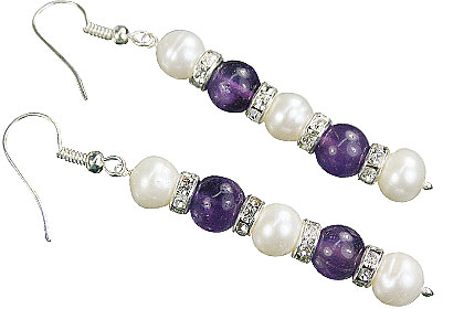 Design 16149: purple,white pearl earrings