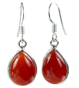 Design 16162: orange,red carnelian drop earrings
