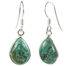 Design 16163: brown,green turquoise drop earrings