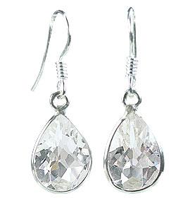 Design 16165: white crystal drop earrings