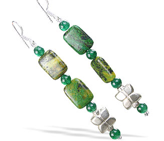 Design 16174: green jasper earrings