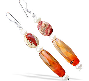 Design 16175: orange,white jasper earrings