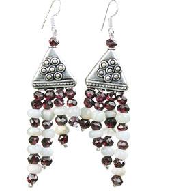 Design 16187: blue,red,white garnet multistrand earrings