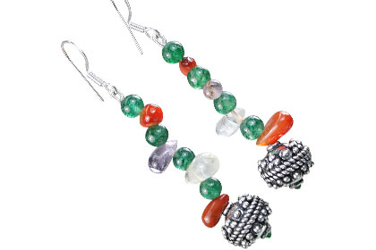 Design 16191: green,purple,multi-color multi-stone drop earrings