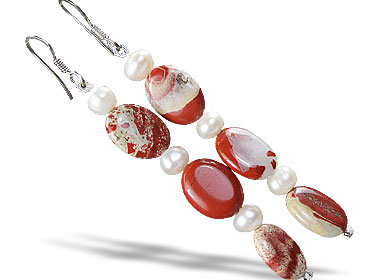 Design 16193: gray,red,white jasper contemporary earrings