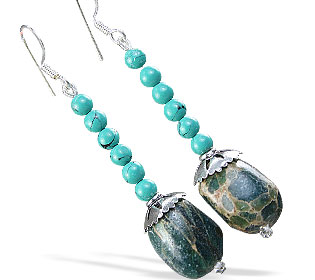 Design 16194: brown,green turquoise tumbled earrings