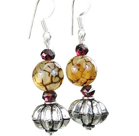 Design 16272: brown,red,yellow onyx contemporary earrings