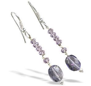 Design 16376: blue,pink rose quartz earrings