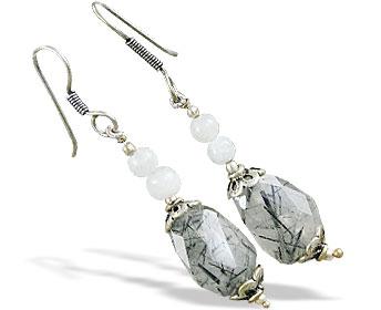 Design 16379: black,gray,white moonstone earrings
