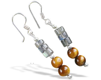 Design 16380: black,blue,brown tiger eye earrings