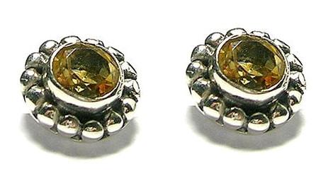 Design 1666: yellow citrine post, stud, studs earrings
