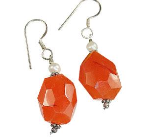 Design 16735: orange carnelian earrings
